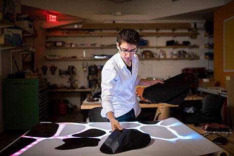 Senior Garrett Parrish combines art and technology, with dramatic effects.
