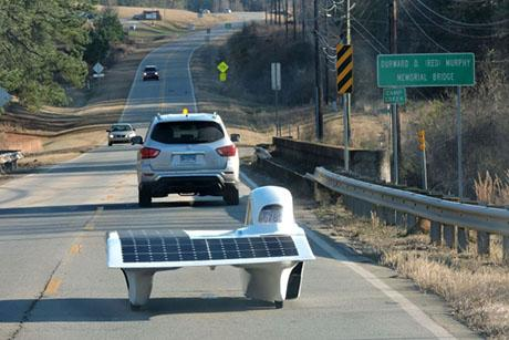 MIT Solar Electric Vehicle Team unveils Flux, an asymmetrical solar car that will race in the American Solar Challenge