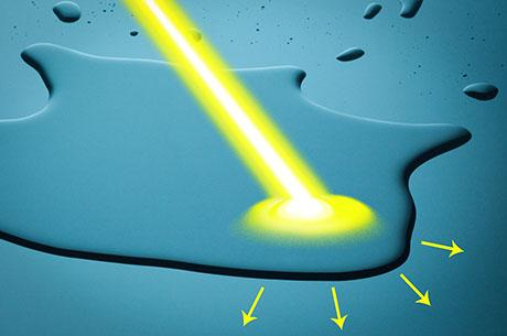 System could make it possible to control the way water moves over a surface, using only light.