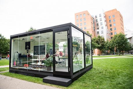 Students live and work in glass cube for four days as part of a global startup competition InCube
